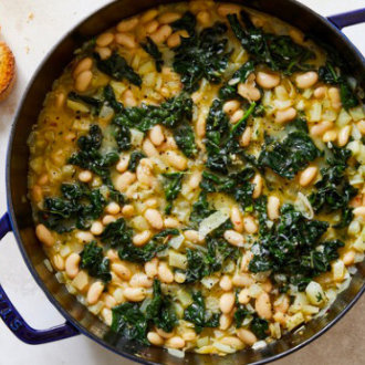 Braised White Beans and Greens